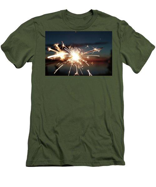 Sparklers After Sunset Men's T-Shirt (Slim Fit) by Kelly Hazel