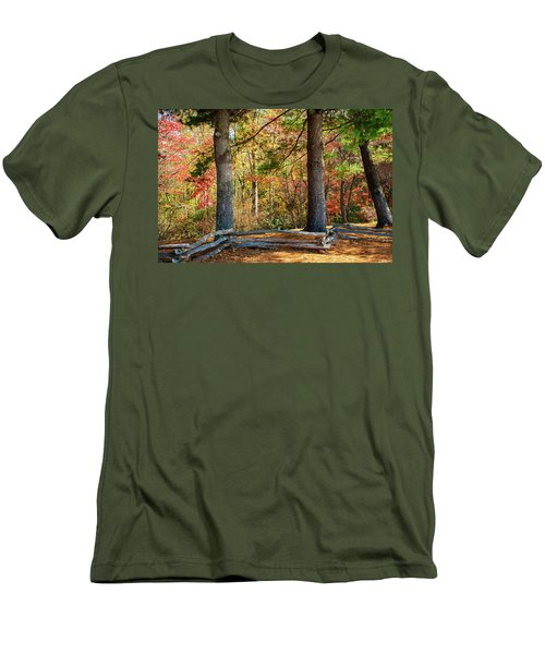 Split Rail Fence And Autumn Leaves Men's T-Shirt (Athletic Fit)