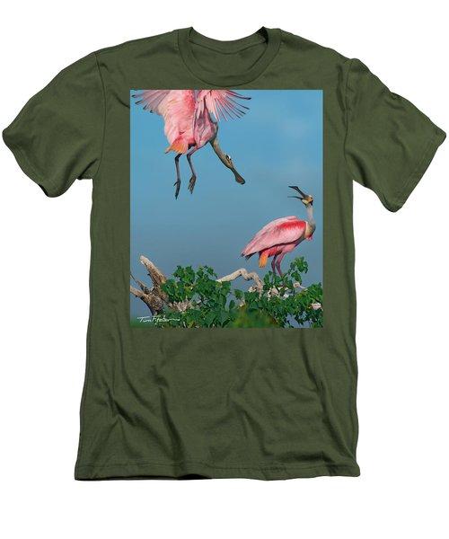 Spoonbills Greeting Men's T-Shirt (Slim Fit) by Tim Fitzharris