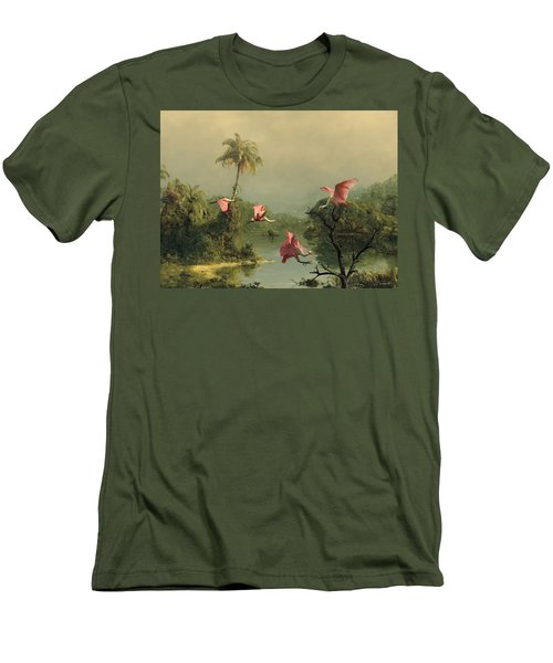 Spoonbills In The Mist Men's T-Shirt (Slim Fit) by Spadecaller