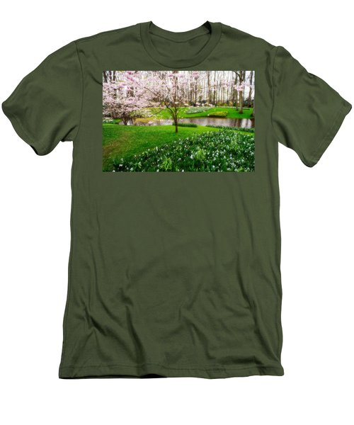 Men's T-Shirt (Athletic Fit) featuring the photograph Spring Blossom In Keukenhof Garden by Jenny Rainbow