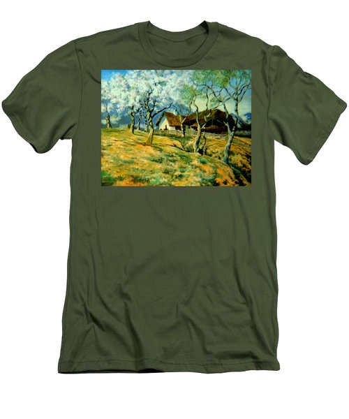 Men's T-Shirt (Slim Fit) featuring the painting Spring In Poland by Henryk Gorecki