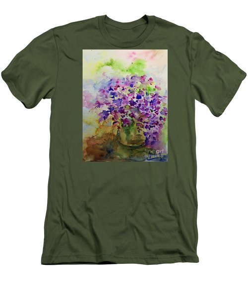 Men's T-Shirt (Slim Fit) featuring the painting Spring Purple Flowers Watercolor by AmaS Art
