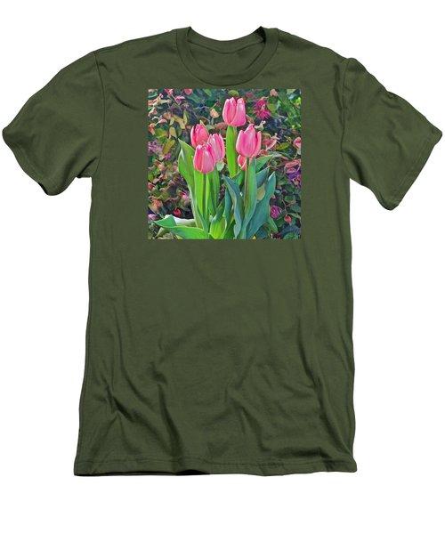 Spring Show 14 Pink Tulips  Men's T-Shirt (Slim Fit) by Janis Nussbaum Senungetuk