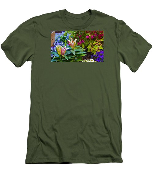 Spring Show 15 Lilies Men's T-Shirt (Slim Fit) by Janis Nussbaum  Senungetuk