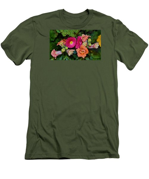 Spring Show 15 Snapdragons And English Daisy Men's T-Shirt (Slim Fit) by Janis Nussbaum Senungetuk
