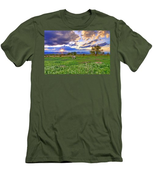 Spring Sunset Over The Rockies Men's T-Shirt (Slim Fit) by Scott Mahon