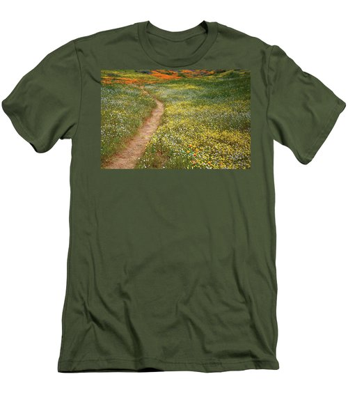 Men's T-Shirt (Slim Fit) featuring the photograph Spring Trail Through A Sea Of Wildflowers At Diamond Lake In California by Jetson Nguyen