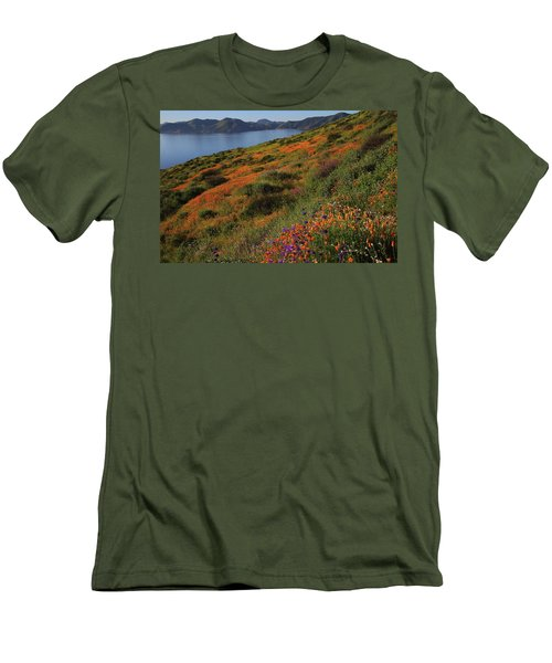Men's T-Shirt (Slim Fit) featuring the photograph Spring Wildflower Season At Diamond Lake In California by Jetson Nguyen