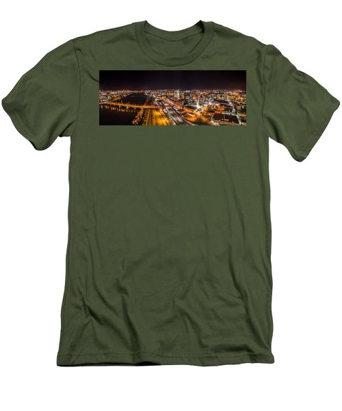 Men's T-Shirt (Slim Fit) featuring the photograph Springfield Massachusetts Night Long Exposure Panorama by Petr Hejl