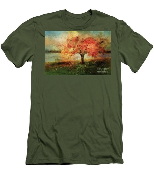 Men's T-Shirt (Slim Fit) featuring the digital art Sprinkled With Spring by Lois Bryan