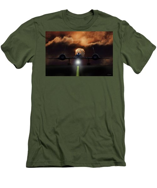 Men's T-Shirt (Slim Fit) featuring the digital art Sr-71 Supermoon by Peter Chilelli