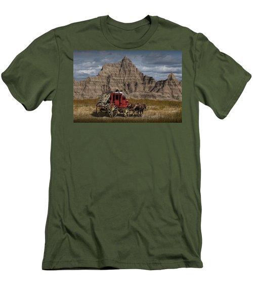 Stage Coach In The Badlands Men's T-Shirt (Slim Fit) by Randall Nyhof
