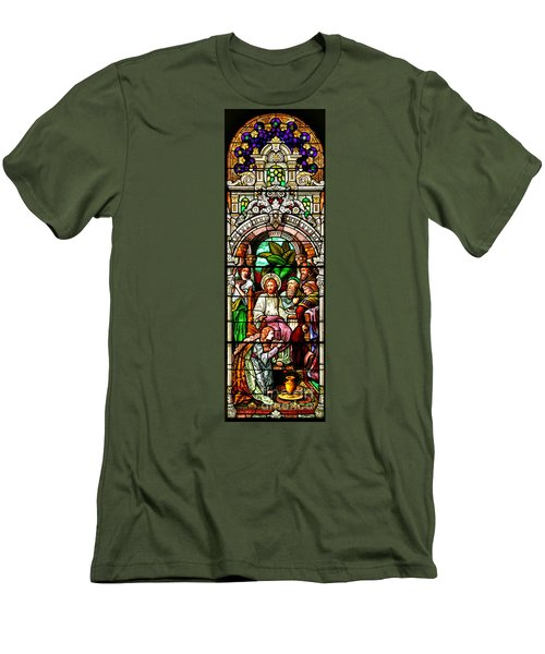 Men's T-Shirt (Slim Fit) featuring the photograph Stained Glass Scene 11 Crop by Adam Jewell