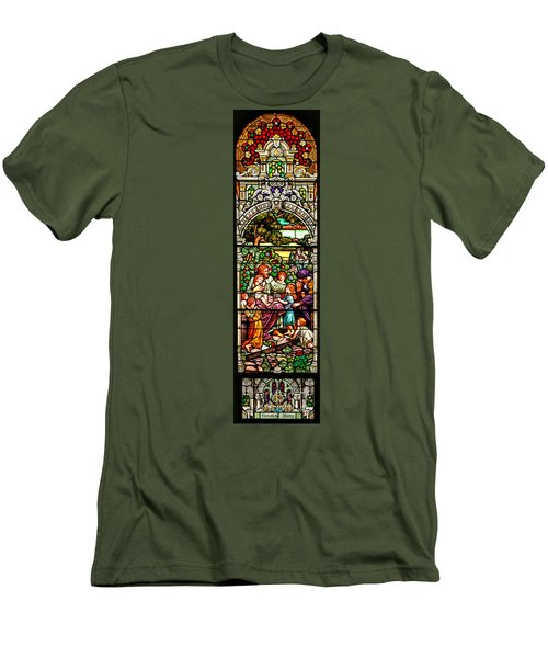 Men's T-Shirt (Slim Fit) featuring the photograph Stained Glass Scene 12 Crop by Adam Jewell