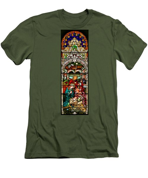 Men's T-Shirt (Slim Fit) featuring the photograph Stained Glass Scene 4 - 2 by Adam Jewell