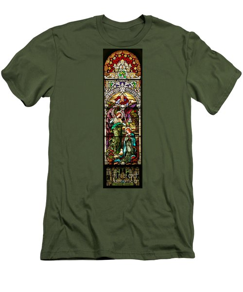 Men's T-Shirt (Slim Fit) featuring the photograph Stained Glass Scene 5 Crop by Adam Jewell