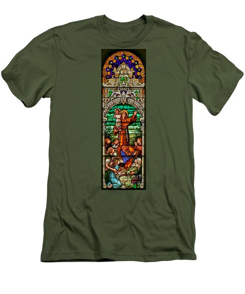 Men's T-Shirt (Slim Fit) featuring the photograph Stained Glass Scene 6 Crop by Adam Jewell