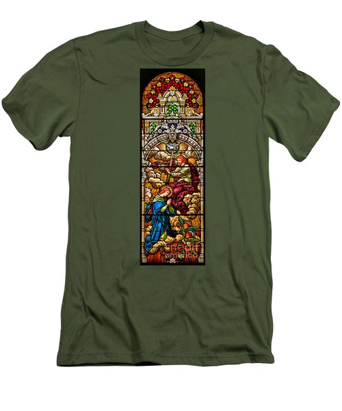 Men's T-Shirt (Slim Fit) featuring the photograph Stained Glass Scene 7 Crops by Adam Jewell