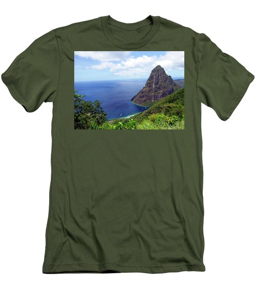 Men's T-Shirt (Slim Fit) featuring the photograph Stairway To Heaven View, Pitons, St. Lucia by Kurt Van Wagner
