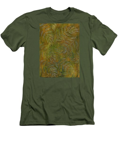 Stamped Textured Leaves Men's T-Shirt (Slim Fit) by Sandra Foster