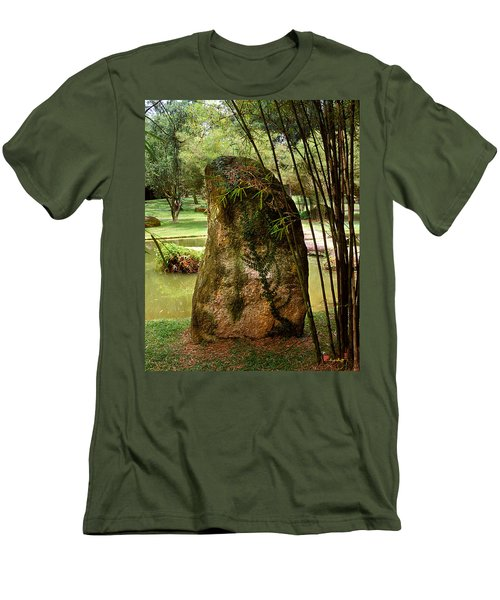 Men's T-Shirt (Slim Fit) featuring the photograph Standing Stone With Fern And Bamboo 19a by Gerry Gantt
