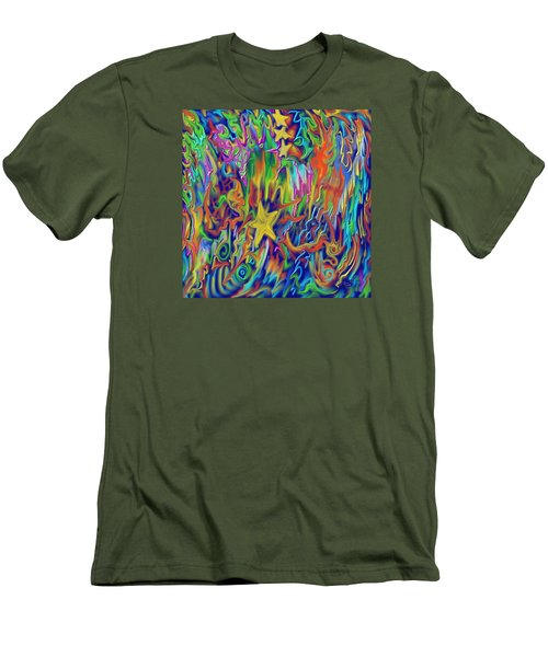 Men's T-Shirt (Slim Fit) featuring the painting Star E Nite by Kevin Caudill