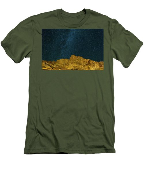 Starry Night Sky Over Rocky Landscape Men's T-Shirt (Athletic Fit)