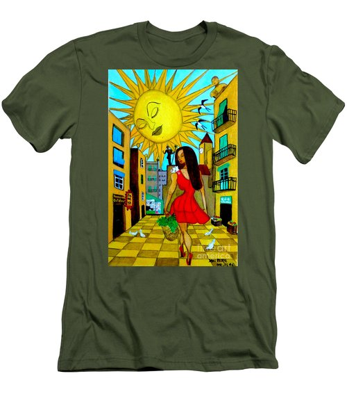 Men's T-Shirt (Slim Fit) featuring the painting Starting A New Day by Don Pedro De Gracia