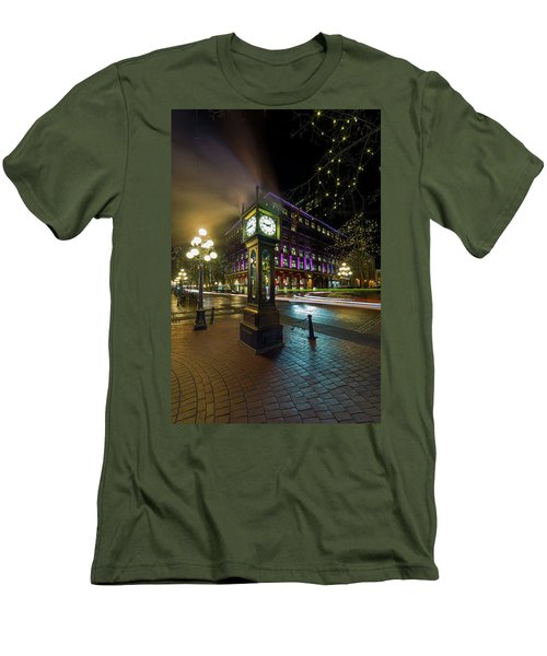 Steam Clock In Gastown Vancouver Bc At Night Men's T-Shirt (Athletic Fit)