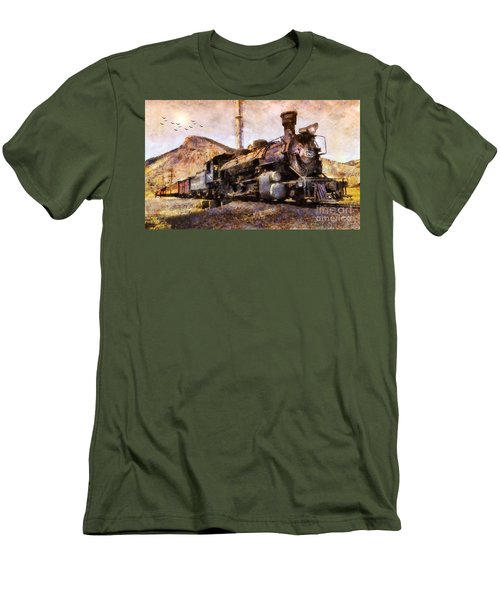 Men's T-Shirt (Slim Fit) featuring the digital art Steam Locomotive by Ian Mitchell