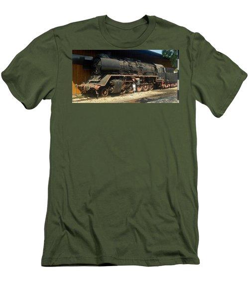 Steam Train  Men's T-Shirt (Slim Fit) by Pierre Van Dijk