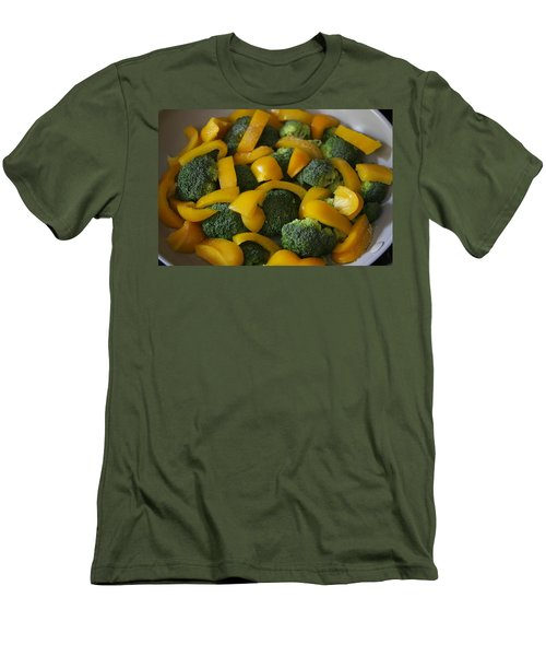 Men's T-Shirt (Athletic Fit) featuring the photograph Steamed Broccoli And Peppers by Vadim Levin