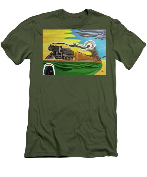 Men's T-Shirt (Slim Fit) featuring the painting Steaming West Bound by Margaret Harmon