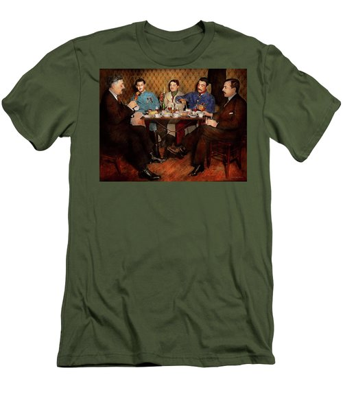 Men's T-Shirt (Athletic Fit) featuring the photograph Steampunk - Bionic Three Having Tea 1917 by Mike Savad