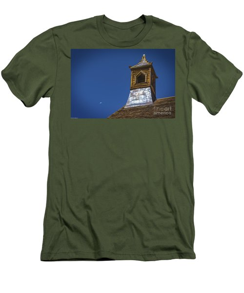 Men's T-Shirt (Slim Fit) featuring the photograph Steeple And Moon by Mitch Shindelbower