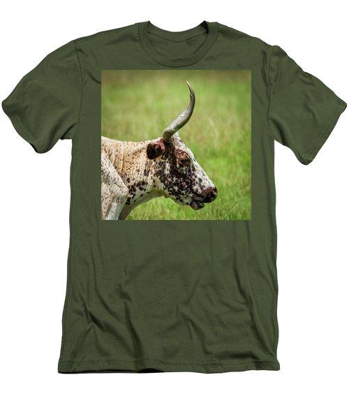 Men's T-Shirt (Slim Fit) featuring the photograph Steer Portrait by Paul Freidlund