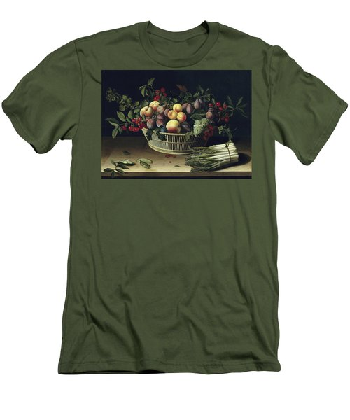 Still Life With A Basket Of Fruit And A Bunch Of Asparagus Men's T-Shirt (Slim Fit) by Louise Moillon