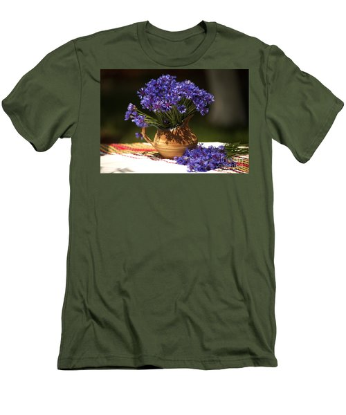 Still Life With Blue Flowers Men's T-Shirt (Athletic Fit)