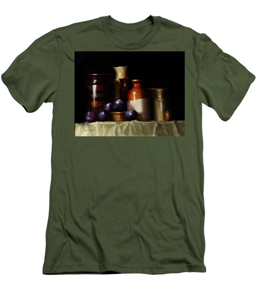 Men's T-Shirt (Slim Fit) featuring the painting Still Life With Plums by Barry Williamson