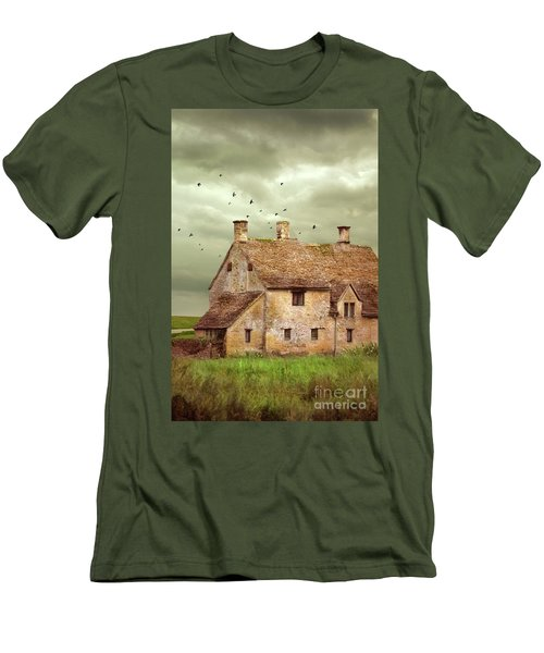 Stone Cottage And Stormy Sky Men's T-Shirt (Slim Fit) by Jill Battaglia