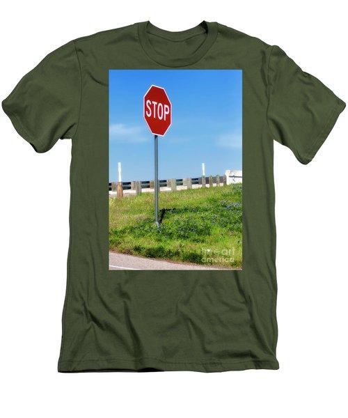 Stop For The Blue Bonnets Men's T-Shirt (Slim Fit) by Joan Bertucci