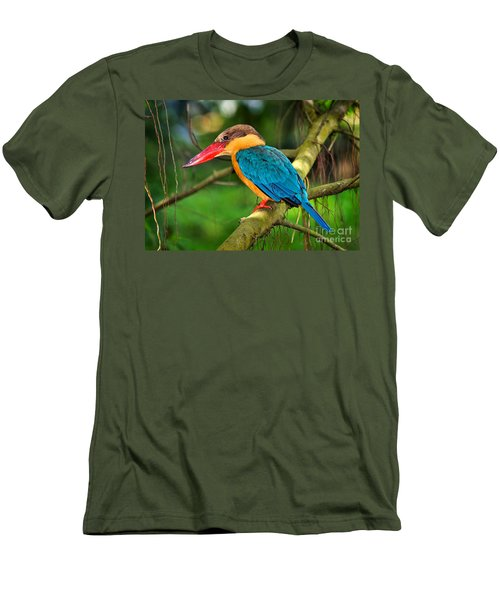Stork-billed Kingfisher Men's T-Shirt (Slim Fit) by Louise Heusinkveld