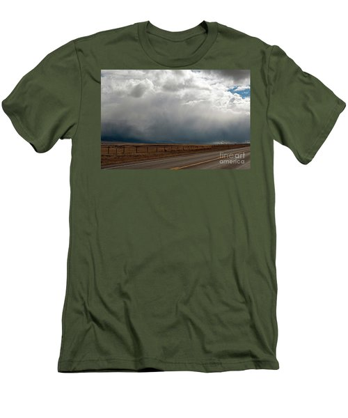 Storm On Route 287 N Of Ennis Mt Men's T-Shirt (Slim Fit) by Cindy Murphy - NightVisions