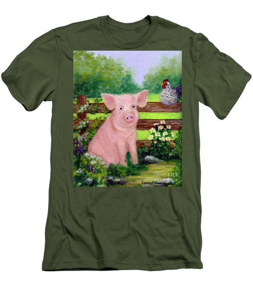 Men's T-Shirt (Slim Fit) featuring the painting Storybook Pig by Sandra Estes