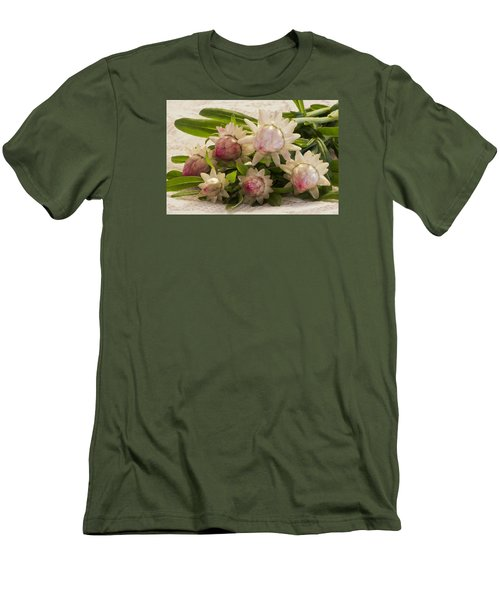 Straw Flowers And Lace Men's T-Shirt (Slim Fit) by Sandra Foster