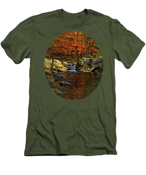 Stream In Autumn 57 In Oil Men's T-Shirt (Slim Fit) by Mark Myhaver