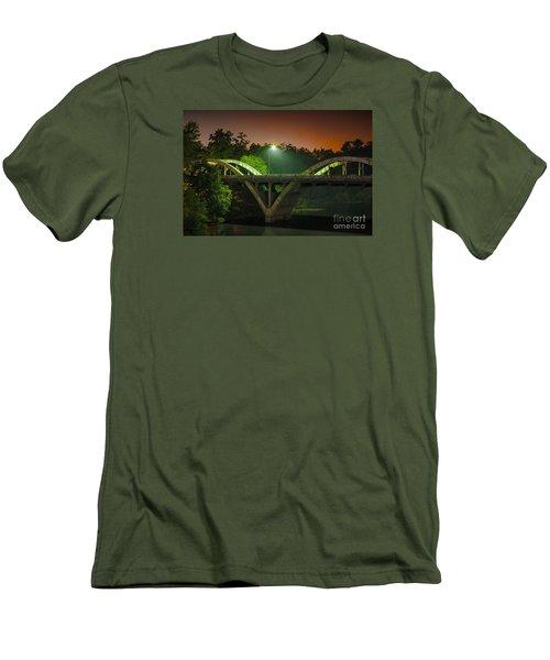 Street Light On Rogue River Bridge Men's T-Shirt (Slim Fit) by Jerry Cowart