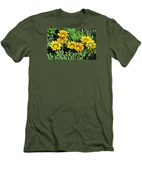 Men's T-Shirt (Slim Fit) featuring the photograph Striped Daisies--film Image by Matthew Bamberg