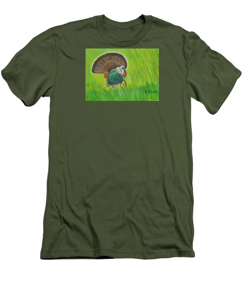 Men's T-Shirt (Slim Fit) featuring the painting Strutting Turkey In The Grass by Margaret Harmon